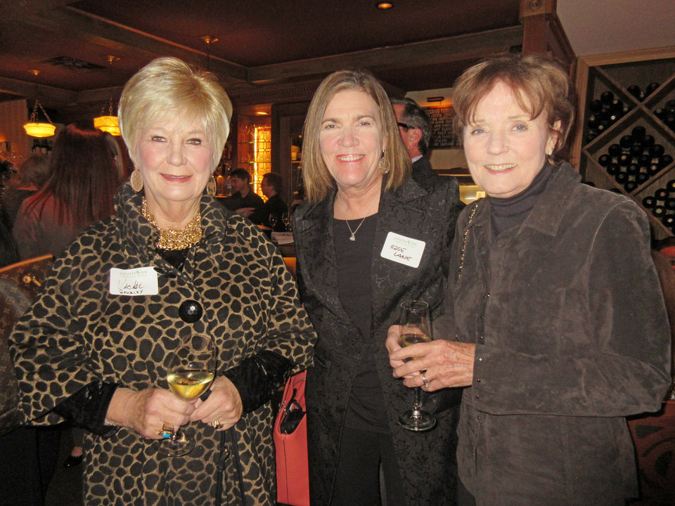 Photo - Vicki Gourley, Rose Lane, Karen Luke at the reception. PHOTO BY HELEN FORD WALLACE, THE OKLAHOMAN