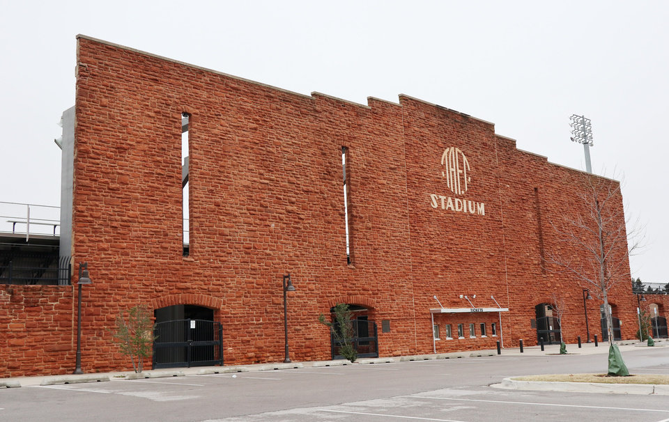 Photo - Exterior of Taft Stadium, Monday, March 16, 2020.  [Photo by Doug Hoke/The Oklahoman]
