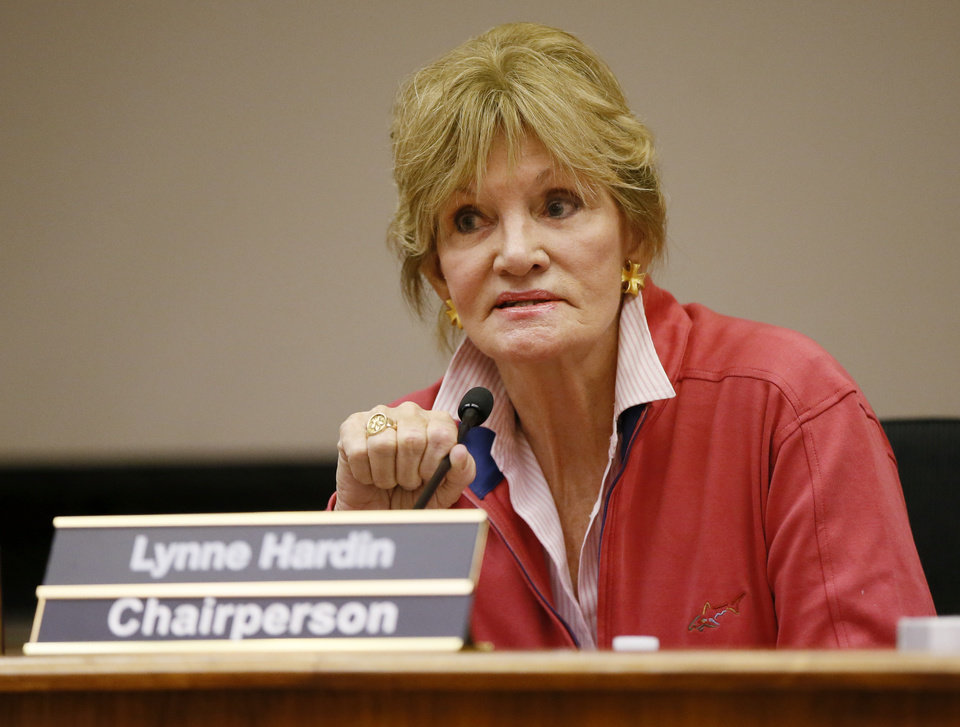 Photo -  Board chairperson Lynne Hardin speaks at the beginning of a special meeting of the Oklahoma City School Board on April 14. [Photo by Nate Billings, The Oklahoman]