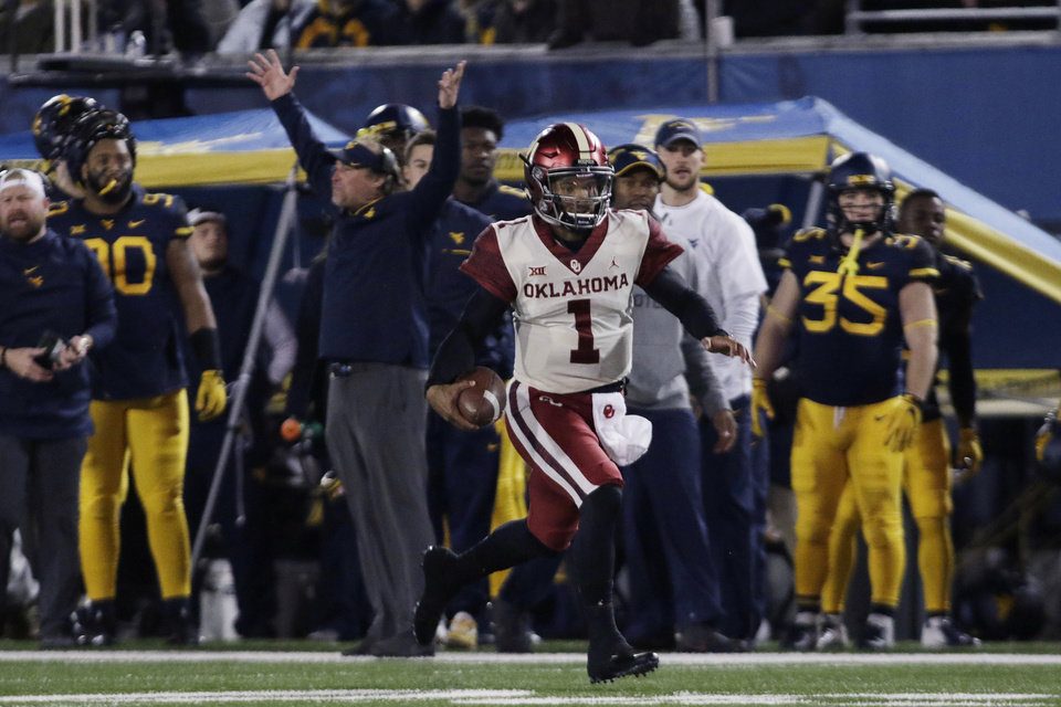 dccd6a6ca Oklahoma quarterback Kyler Murray (1) runs the ball for a touchdown during  the first half of an NCAA college football game against West Virginia on  Friday