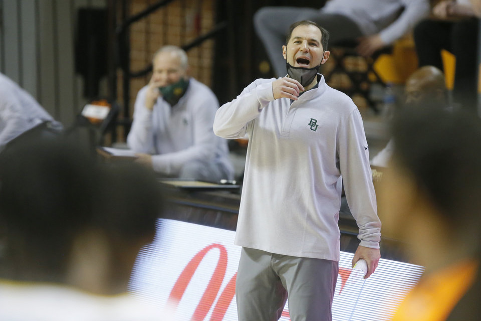 Photo - Baylor coach Scott Drew shouts during an NCAA basketball game between the Oklahoma State University Cowboys (OSU) and the Baylor Bears at Gallagher-Iba Arena in Stillwater, Okla., Saturday, Jan. 23, 2021. Baylor won 81-66.  [Bryan Terry/The Oklahoman]
