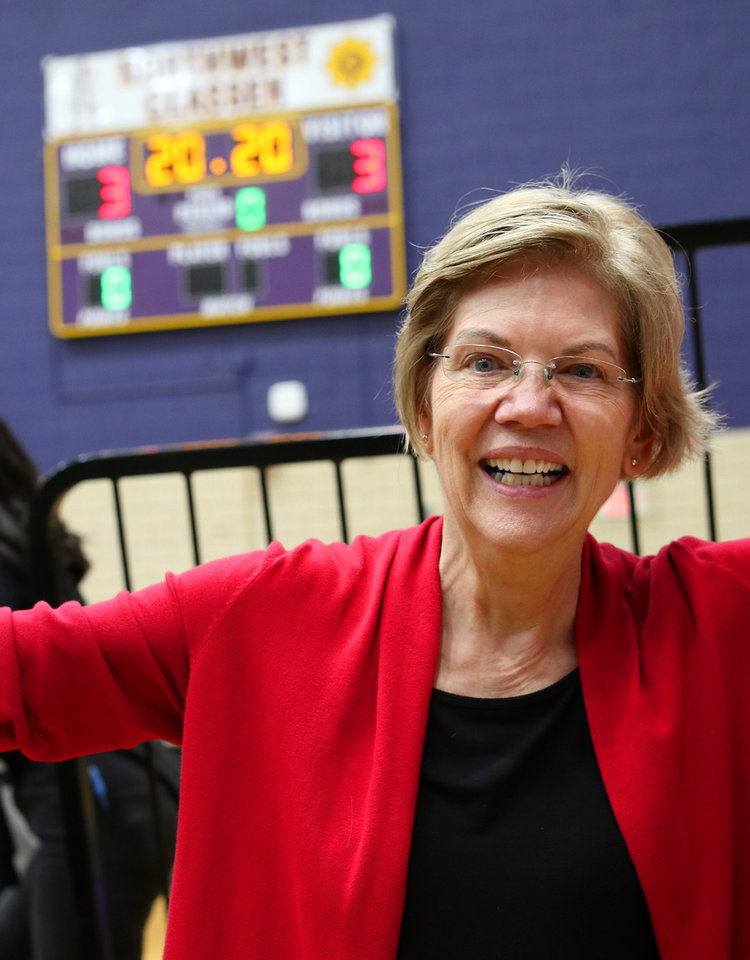"Photo -  poses for a ""selfie"" with Sen. Elizabeth Warren after a rally  in Oklahoma City at Northwest Classen High School, her alma mater, Sunday, December 22, 2019. [Photo by Doug Hoke/The Oklahoman]"