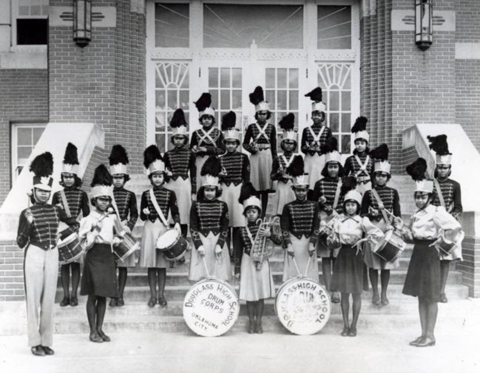 Photo -  Douglass High School Drum Corps, directed by Zelia Breaux, 1946. [Elwyn Welch Collection/OHS]