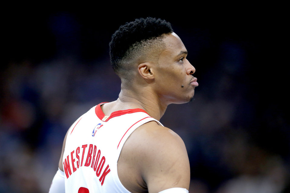 Photo - Houston's Russell Westbrook (0) reacts during the NBA basketball game between the Oklahoma City Thunder and the Houston Rockets at the Chesapeake Energy Arena in Oklahoma City,  Thursday, Jan. 9, 2020.  [Sarah Phipps/The Oklahoman]