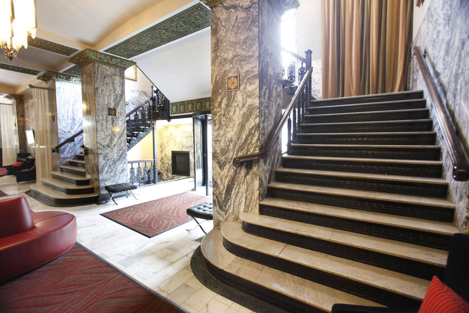 Photo - This is the grand staircase in the lobby of the Colcord Hotel in downtown Oklahoma City, OK, Monday, April 26, 2010. For Hidden Oklahoma feature. By Paul Hellstern, The Oklahoman ORG XMIT: KOD