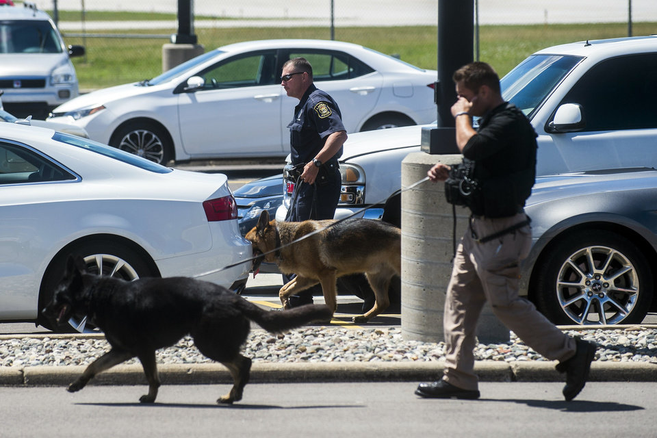 Photo - Police dogs search cars in a parking lot at Bishop International Airport, Wednesday morning, June 21, 2017, in Flint, Mich. Officials evacuated the airport Wednesday, where a witness said he saw an officer bleeding from his neck and a knife nearby on the ground. Authorities say the injured officer's condition is improving. (Jake May/The Flint Journal-MLive.com via AP)