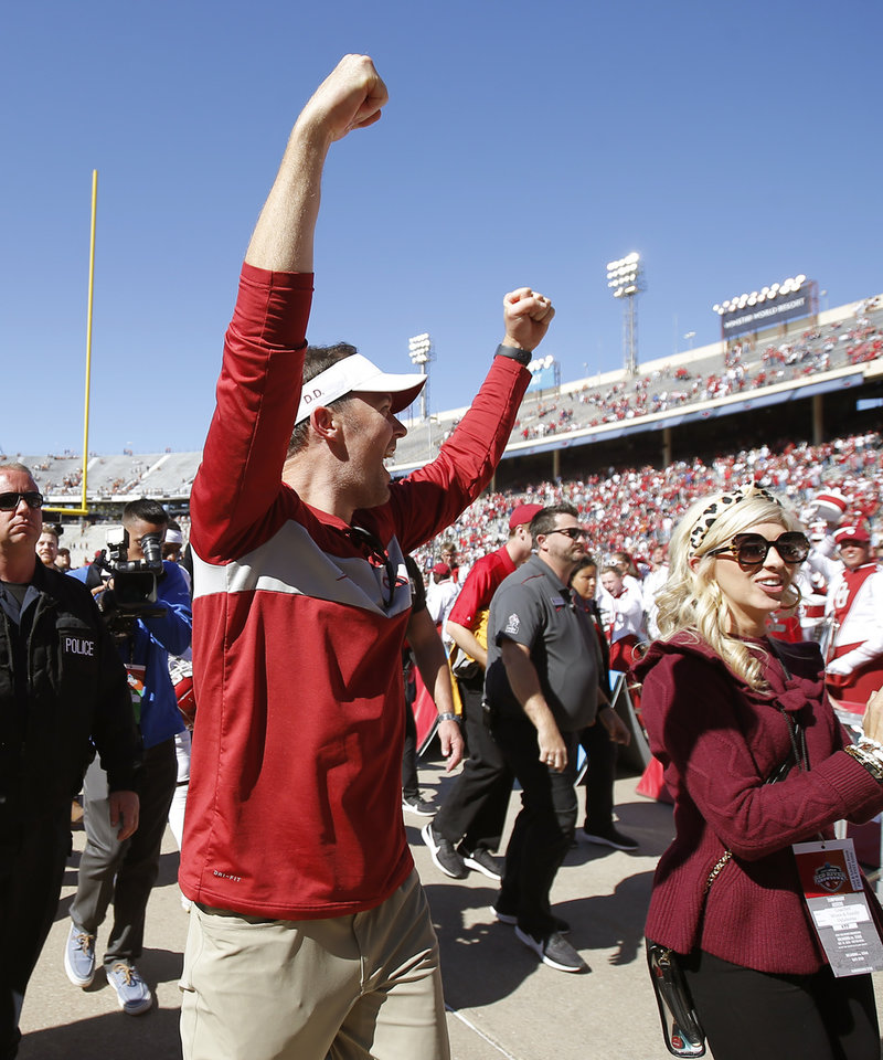 Photo - Oklahoma coach Lincoln Riley celebrates after the Red River Showdown college football game between the University of Oklahoma Sooners (OU) and the Texas Longhorns (UT) at Cotton Bowl Stadium in Dallas, Saturday, Oct. 12, 2019. Oklahoma won 34-27. [Bryan Terry/The Oklahoman]