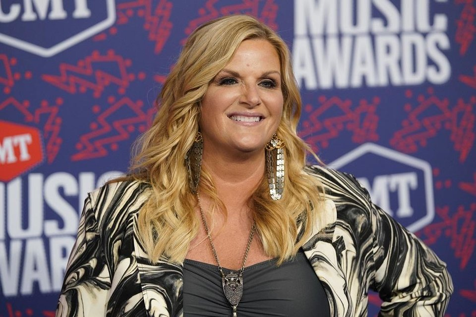 Photo - Trisha Yearwood arrives at the CMT Music Awards on Wednesday, June 5, 2019, at the Bridgestone Arena in Nashville, Tenn. [AP Photo/Sanford Myers]