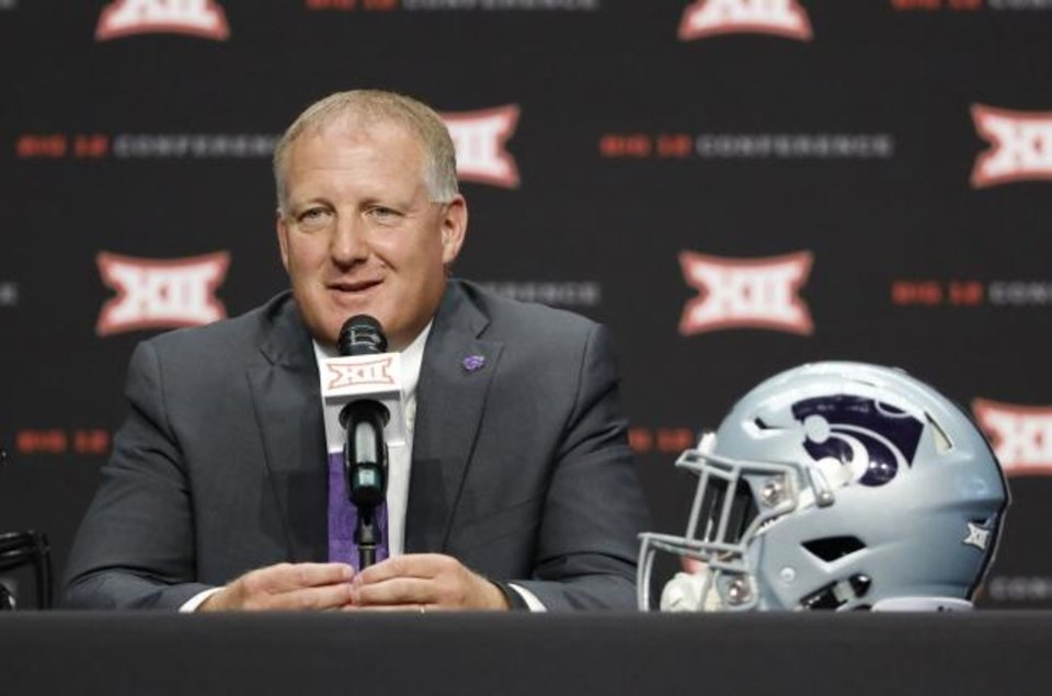 Photo -  Chris Klieman is taking over for a legend at Kansas State, but in replacing Bill Snyder as head coach, Klieman chooses to see the positives in the situation. He believes he is taking over a program with solid facilities, infastructure and support because of Snyder. [AP PHOTO/DAVID KENT]