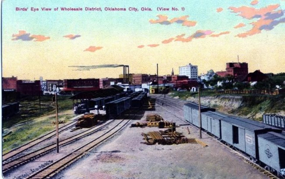 Photo -  The Frisco station on Oklahoma City's west side is depicted on this 1910 postcard. [OKLAHOMA HISTORICAL SOCIETY]