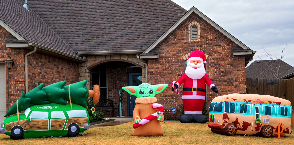 Photo - Christmas decorations at the home located at 2817 Melina Dr. in Yukon, Okla. on Wednesday, Dec. 2, 2020.  [Chris Landsberger/The Oklahoman]
