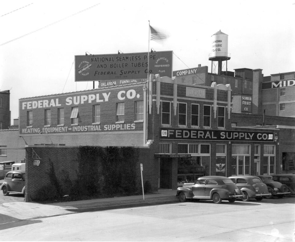 Photo -  Federal Corporation is shown in this mid-1950s photo taken when the district was the hub of industry in Oklahoma City.  [Photo provided by the Oklahoma Historical Society]