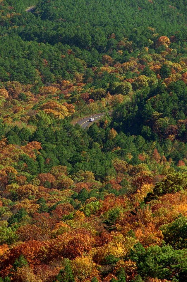 Photo - The 54-mile Talimena National Scenic Byway offers stunning views pretty much any time of year, but especially during fall. The drive from Talihina to Mena, Arkansas, meanders along the crest of Rich Mountain and Winding Stair Mountain in the Ouachita National Forest, offering numerous stupendous vistas and turnoffs. [The Oklahoman Archives]