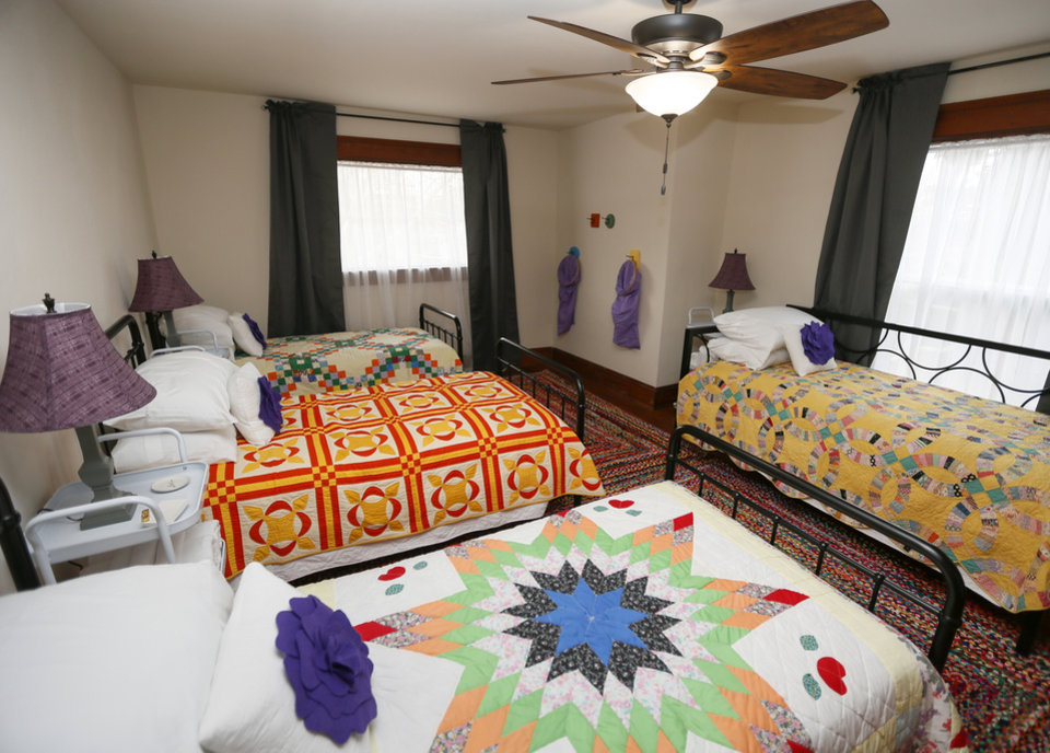 Photo -  One of the bedrooms is shown on the second floor of Seven10 Create, a retreat center for crafters in Guthrie. The retreat center can host up to 12 craft artists.