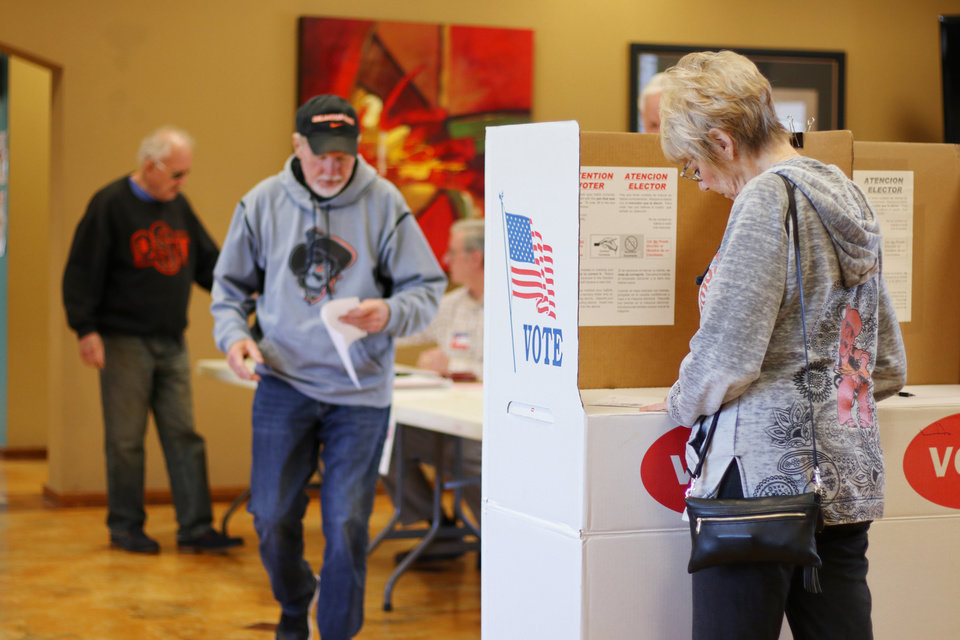 Photo - Voting in Edmond at Spring Creek Assembly of God, Tuesday, April 2, 2019.  Photo by Doug Hoke/The Oklahoman