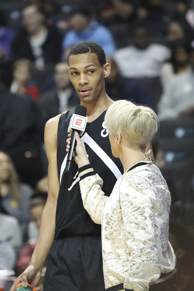 Photo -  Darius Bazley played in the 2018 Jordan Brand Classic in Brooklyn after a stellar prep career. [AP Photo/Gregory Payan]