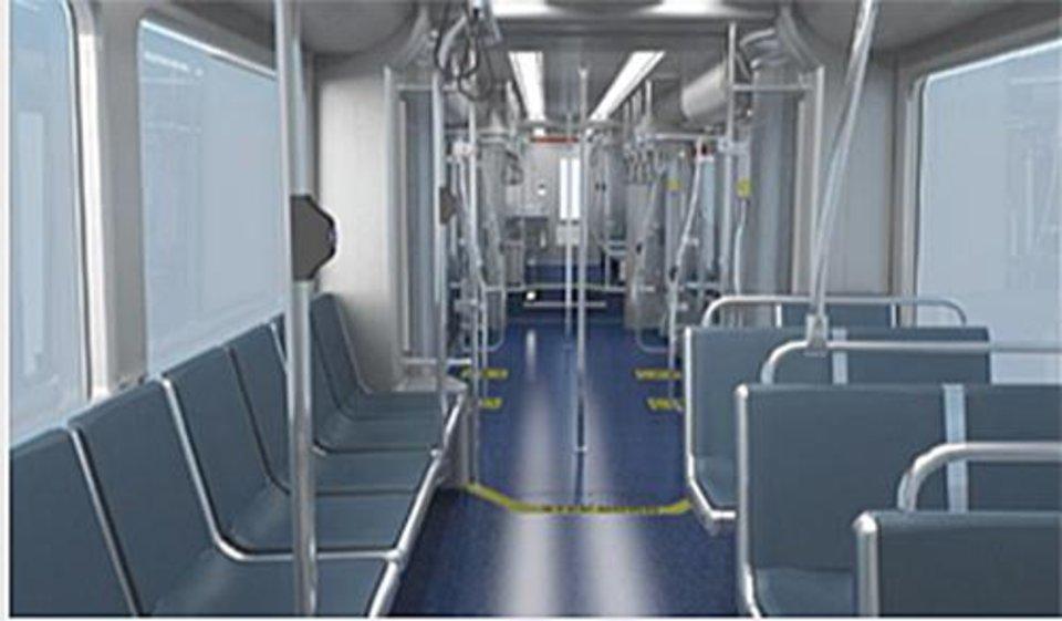Photo - An interior view shows the appointments of Oklahoma City's streetcar. Each streetcar costs nearly $5 million and is designed to run part of the MAPS 3 downtown streetcar route on battery power. [City of Oklahoma City/JACOBS/Brookville Equipment Corp.]
