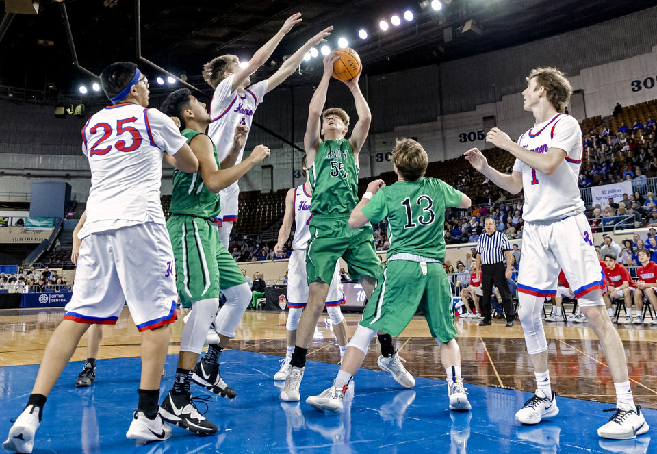 Photo - Leedey's Nathan Hill (55) puts up a shot against Hammon's Trey Torrance (3) during a Class B boys state tournament semi-final basketball game between Hammon vs Leedey in the Jim Norick Arena at State Fair Park in Oklahoma City, Okla. on Friday, March 6, 2020.  [Chris Landsberger/The Oklahoman]