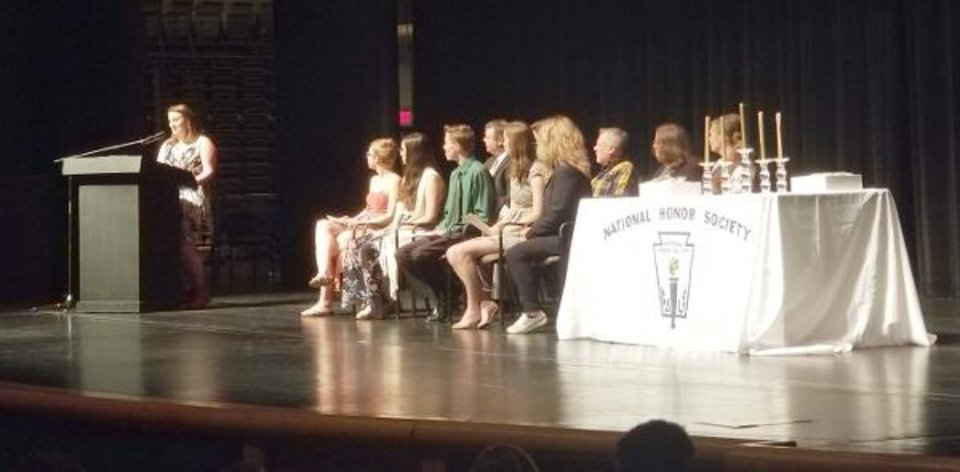 Photo - EPIC National Honor Society President Summer Nelson speaks at a recent honor society ceremony. [PROVIDED]