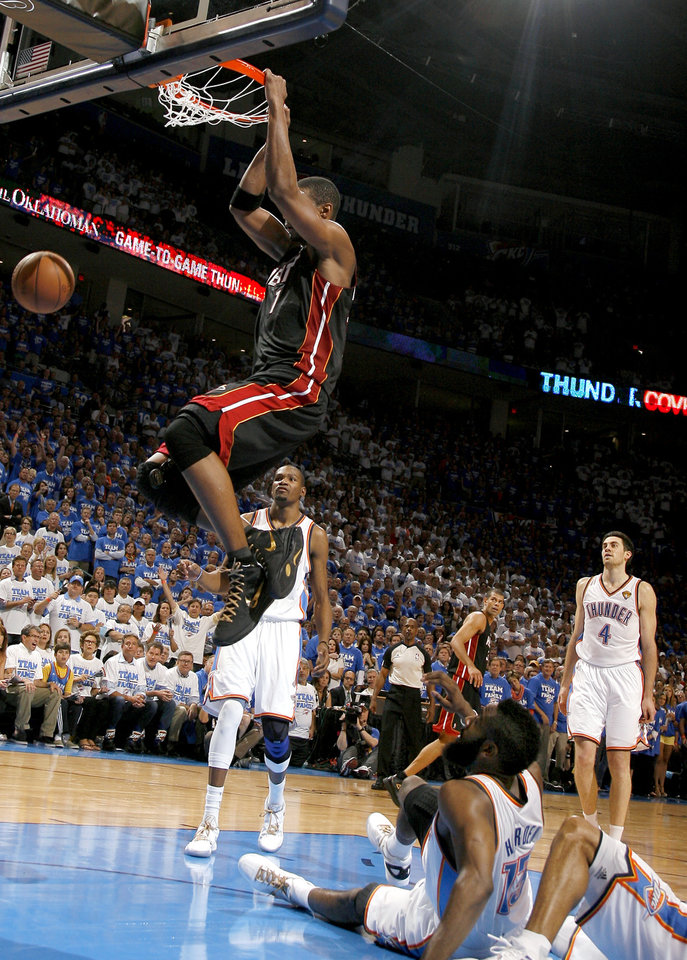 81726b6d8d40 NBA Finals  LeBron James gets best of Kevin Durant late as Heat even ...