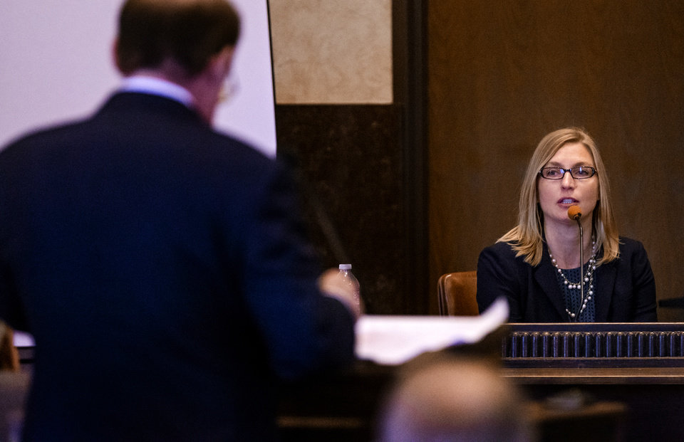 Photo -  Terri White, Oklahoma Department of Mental Health and Substance Abuse Services Commissioner, speaks as a State's witness during the opioid trial at the Cleveland County Courthouse in Norman, Okla. on Tuesday, June 25, 2019. [Chris Landsberger/The Oklahoman]