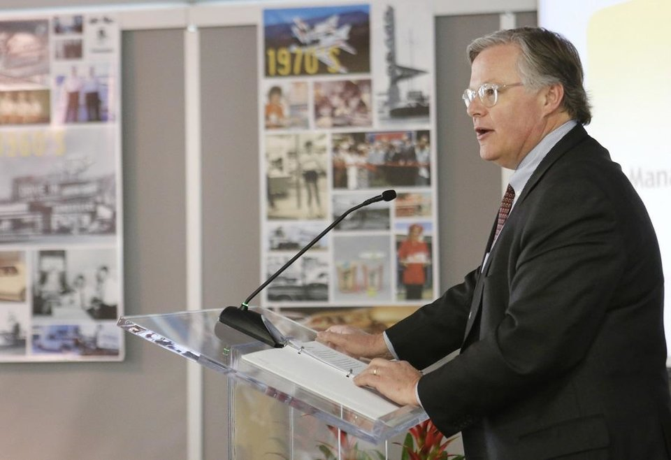Photo - Clifford Hudson, former President and Chief Executive Officer, Sonic Corporation, talks during a meeting in Oklahoma City, Thursday January 16, 2014. [The Oklahoman Archives]