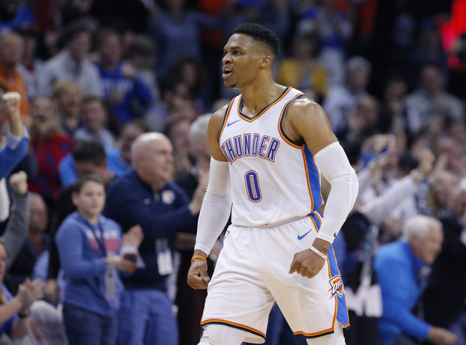 Photo - Oklahoma City's Russell Westbrook (0) celebrates a 3-point basket during the NBA game between the Oklahoma City Thunder and Minnesota Timberwolves at the Chesapeake Energy Arena, Tuesday, Jan. 8, 2019. Photo by Sarah Phipps, The Oklahoman