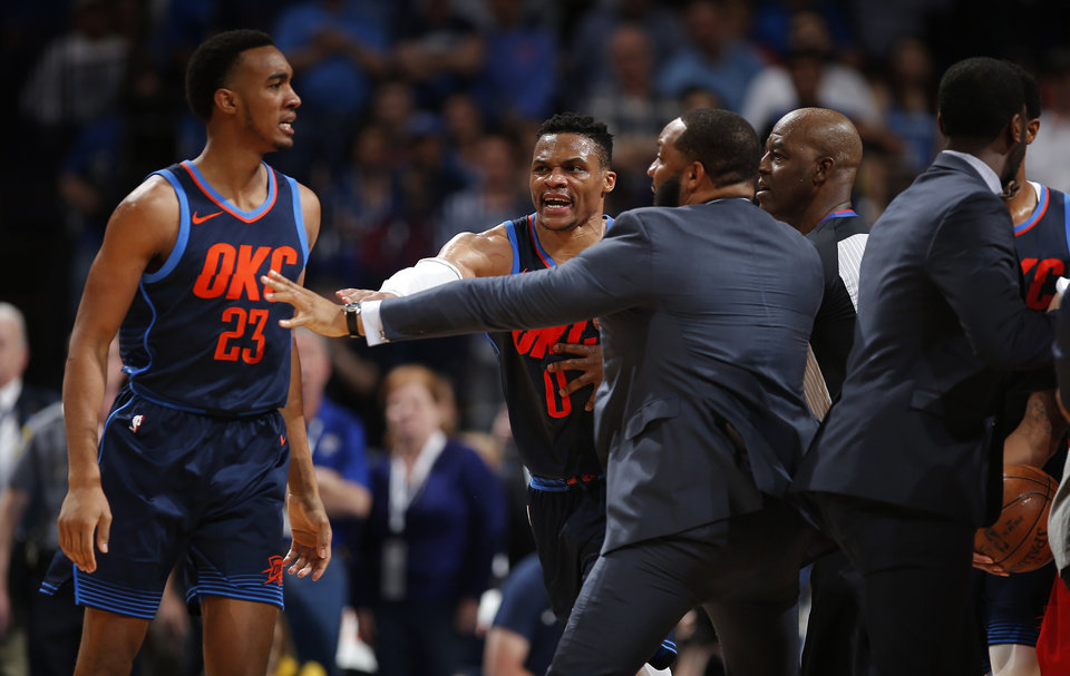 Terrance Ferguson 23 And Rus Westbrook 0 Are Separated From Portland Players During The Nba Basketball Between Oklahoma City Thunder