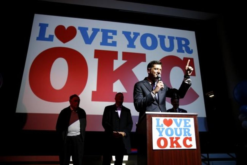 Photo -  Oklahoma City Mayor David Holt talks to the crowd during a watch party for MAPS 4 inside the Yale Theater in Oklahoma City on Tuesday. [Bryan Terry/The Oklahoman]