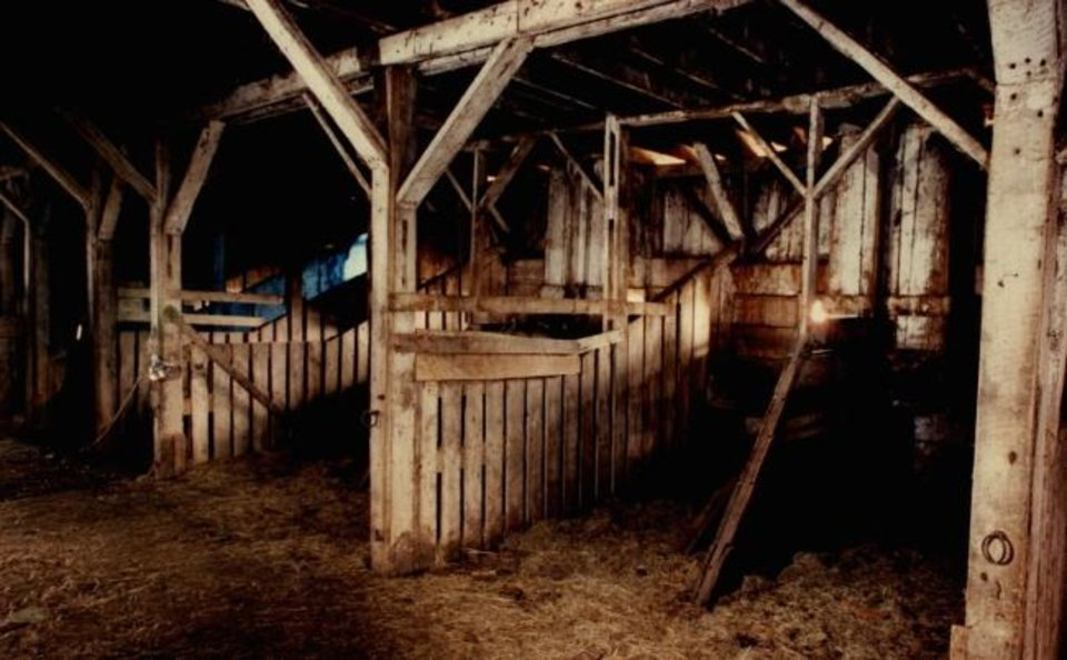 Photo -  A 1992 photograph inside the McNaughton barn shows livestock stalls. [THE OKLAHOMAN ARCHIVES]