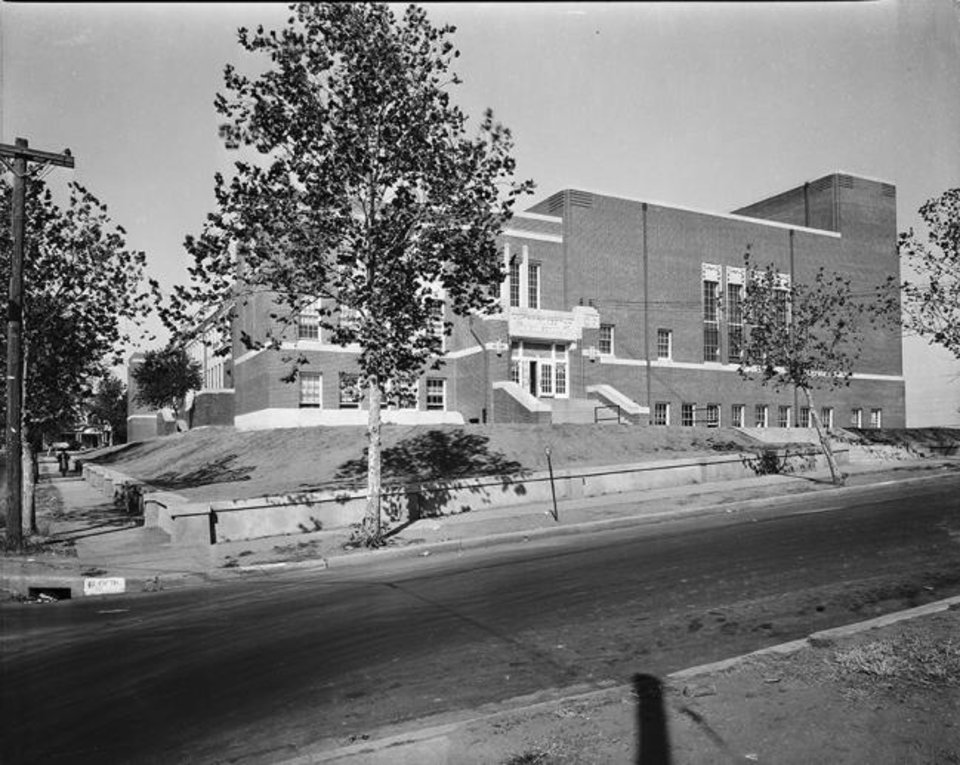 Photo -  Douglass High School, 600 N High Street in Oklahoma City, 1950. [Z. P. Meyers/Barney Hillerman Collection/OHS]