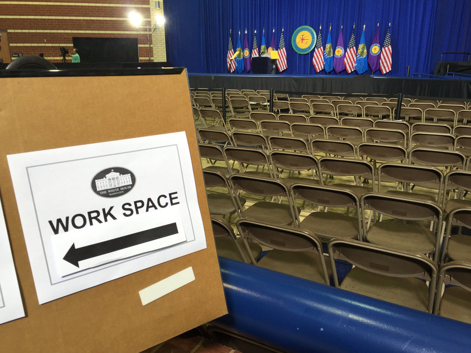 Photo - Stage is set inside Durant High School for President Obama's visit later today.
