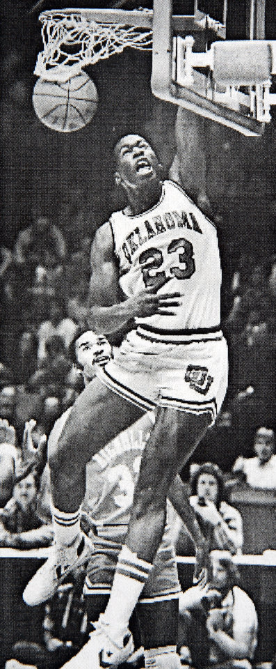 Photo - Former OU basketball player Wayman Tisdale. Wayman Tisdale, All-Century OU College Basketball Team. Staff photo by Doug Hoke. Photo taken 1/14/1984, photo published 1/15/1984, 3/15/1984 in The Daily Oklahoman. ORG XMIT: KOD