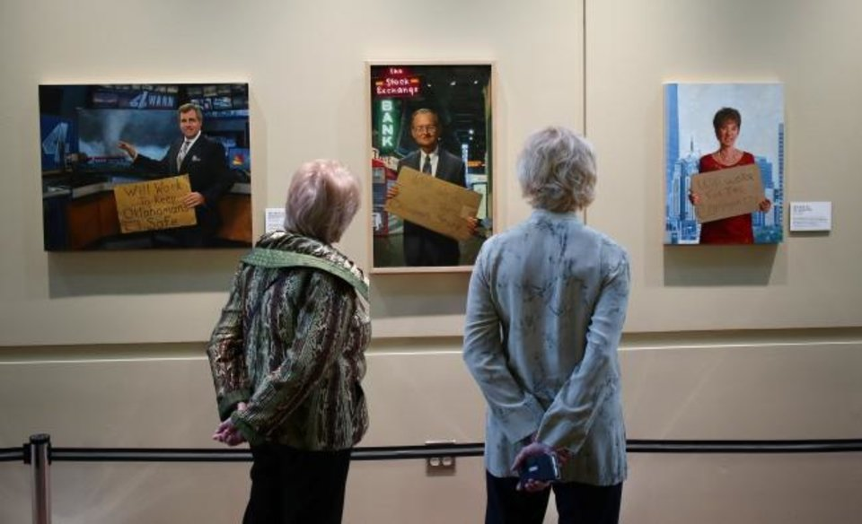 Photo -  Oklahoma History Center visitors look on March 21 at