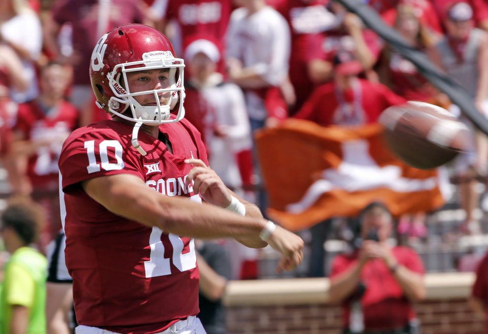 186820c13cd Oklahoma's Austin Kendall (10) throws during the second half of a college  football game where the University of Oklahoma Sooners (OU) defeated the  Florida ...