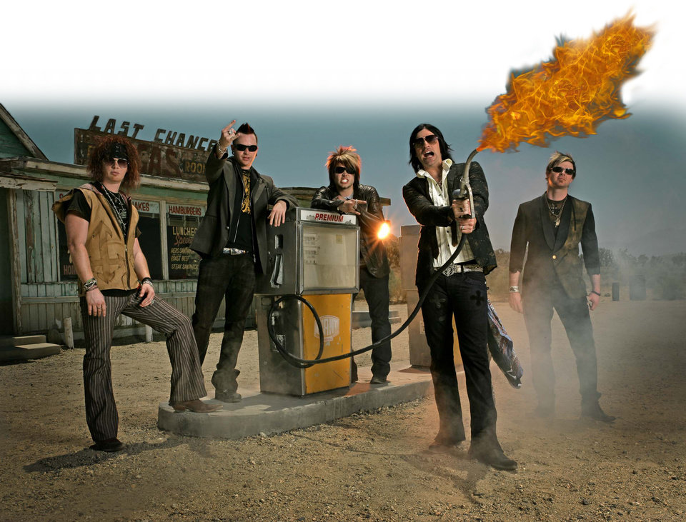 Photo -  Hinder before Austin Winkler's departure in 2013: From left, Cody Hanson, Mike Rodden, Joe Garvey, Austin Winkler and Mark King. [Photo provided]