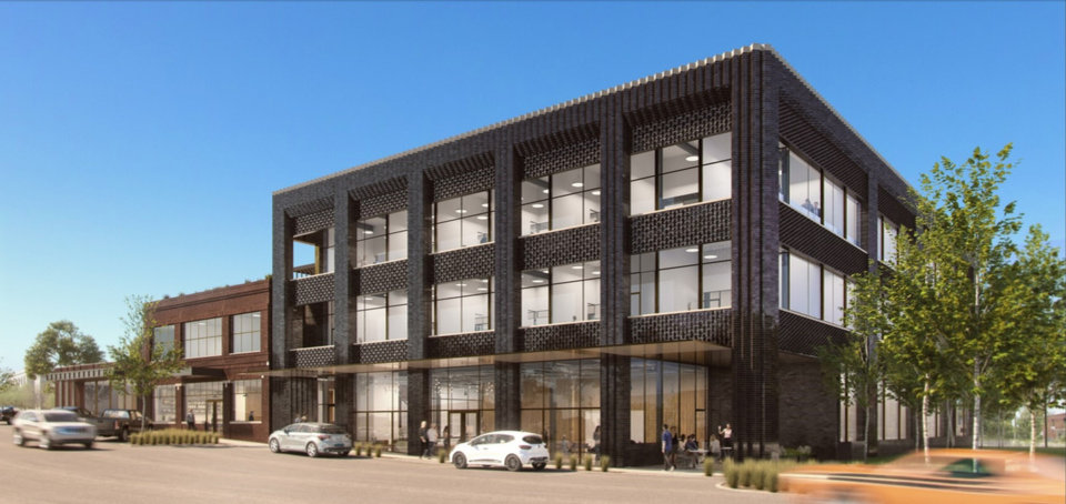 Photo -  Plans for new headquarters for Circle 9 Resources include a new three-story building and redevelopment of two existing structures on NW 8 in the Automobile Alley district. [Images provided by Allford Hall Monaghan Morris]