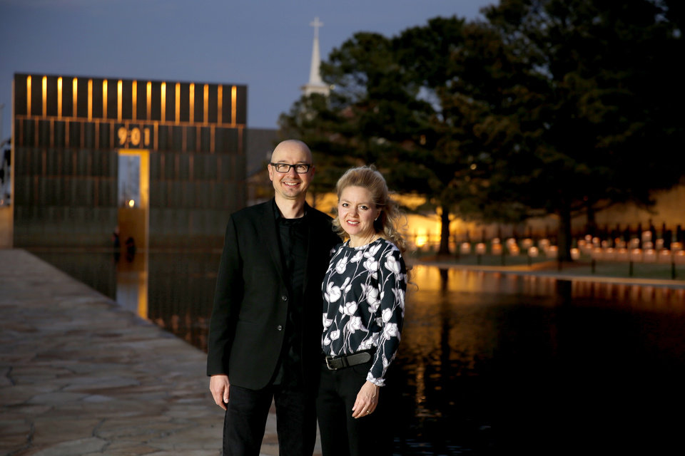 Photo -  Hans and Torrey Butzer, co-designers of the Oklahoma City National Memorial   [Photo by Bryan Terry, The Oklahoman]
