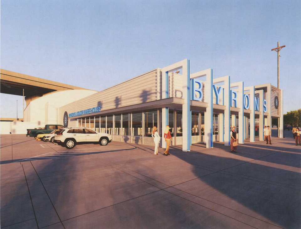 Photo -  A rendering shows planned improvements to Byron's Liquor Warehouse. [RENDERING PROVIDED]