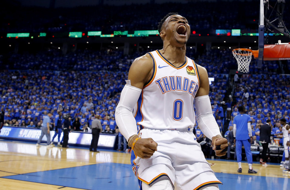 Photo - Oklahoma City's Russell Westbrook (0) cheers before Game 4 in the first round of the NBA playoffs between the Portland Trail Blazers and the Oklahoma City Thunder at Chesapeake Energy Arena in Oklahoma City, Sunday, April 21, 2019.  Photo by Sarah Phipps, The Oklahoman
