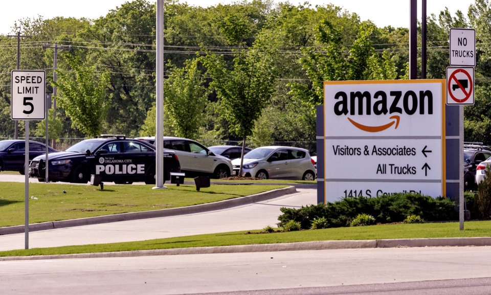 Photo - The Amazon warehouse located at 1414 S Council Road in Oklahoma City, Okla. on Tuesday, April 28, 2020, where police were called out after a shooting involving two suspects.   [Chris Landsberger/The Oklahoman]