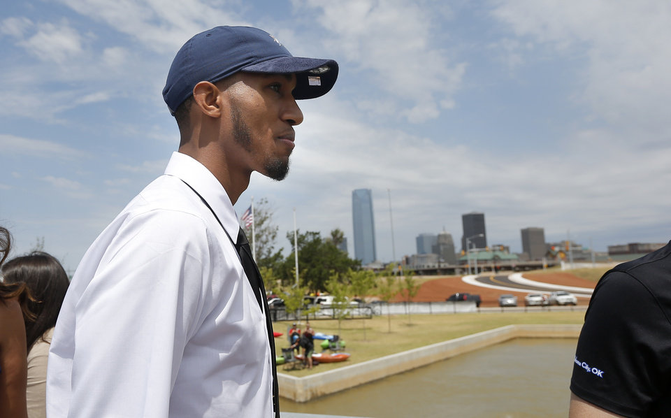 Photo - Oklahoma City's Terrance Ferguson tours the RIVERSPORT Rapids following an introductory press conference a the CHK | Central Boathouse in Oklahoma City, Saturday, June 24, 2017. Photo by Sarah Phipps, The Oklahoman