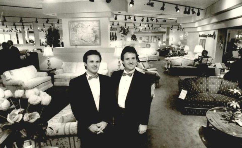 Photo -  Bill and Larry Mathis stand in their newly opened showroom Feb. 12, 1987, at 3434 W Reno. [OPUBCO Collection, 1987/Oklahoma Historical Society]