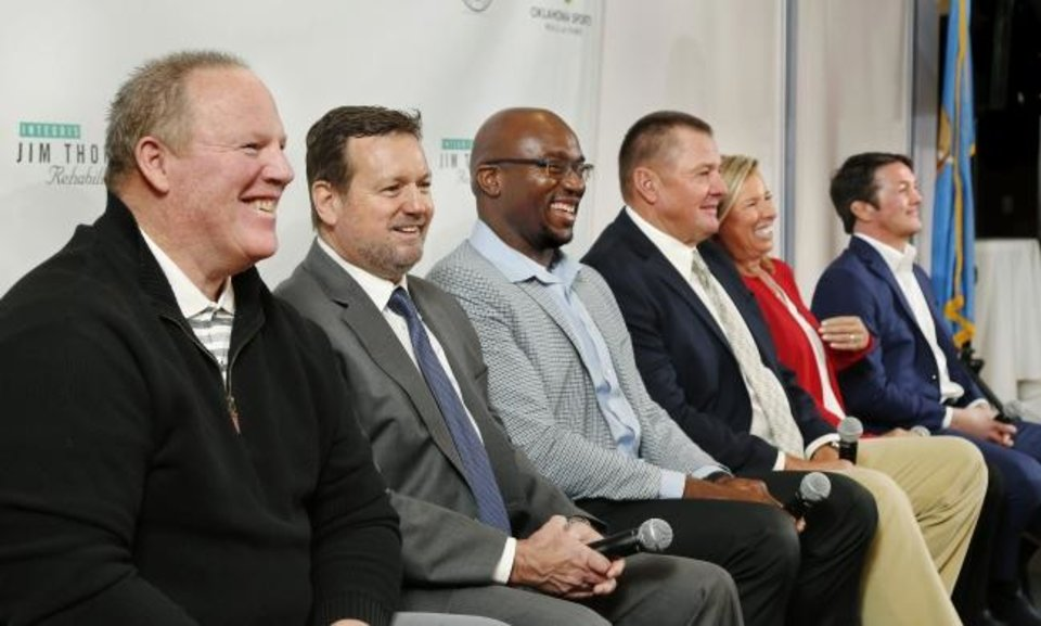 Photo -  Mickey Tettleton, left, is part of this year's induction class for the Oklahoma Sports Hall of Fame. Included in the class are, left to right, Bob Stoops, Will Shields, Mike Moore, Patty Gasso and Kendall Cross. Lou Henson will also be inducted during Monday's ceremony. [JIM BECKEL/THE OKLAHOMAN]