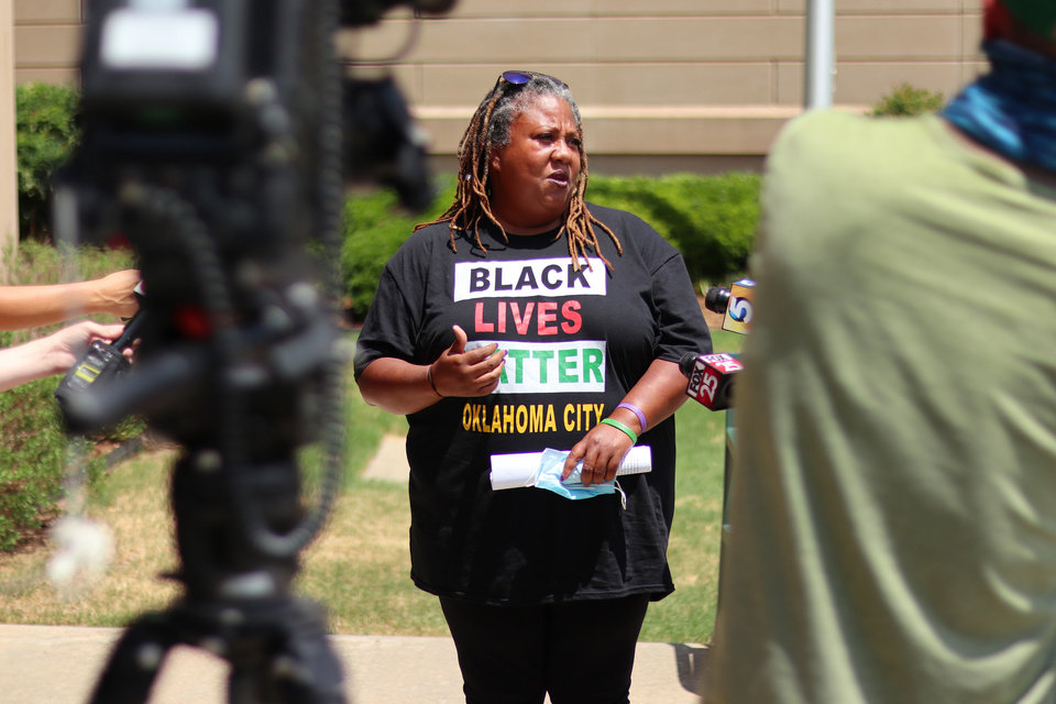 Photo - Rev. T. Sheri Dickerson responds after Oklahoma Attorney General Mike Hunter discusses the case of death row inmate Julius Jones Monday, July 6, 2020. [Doug Hoke/The Oklahoman]