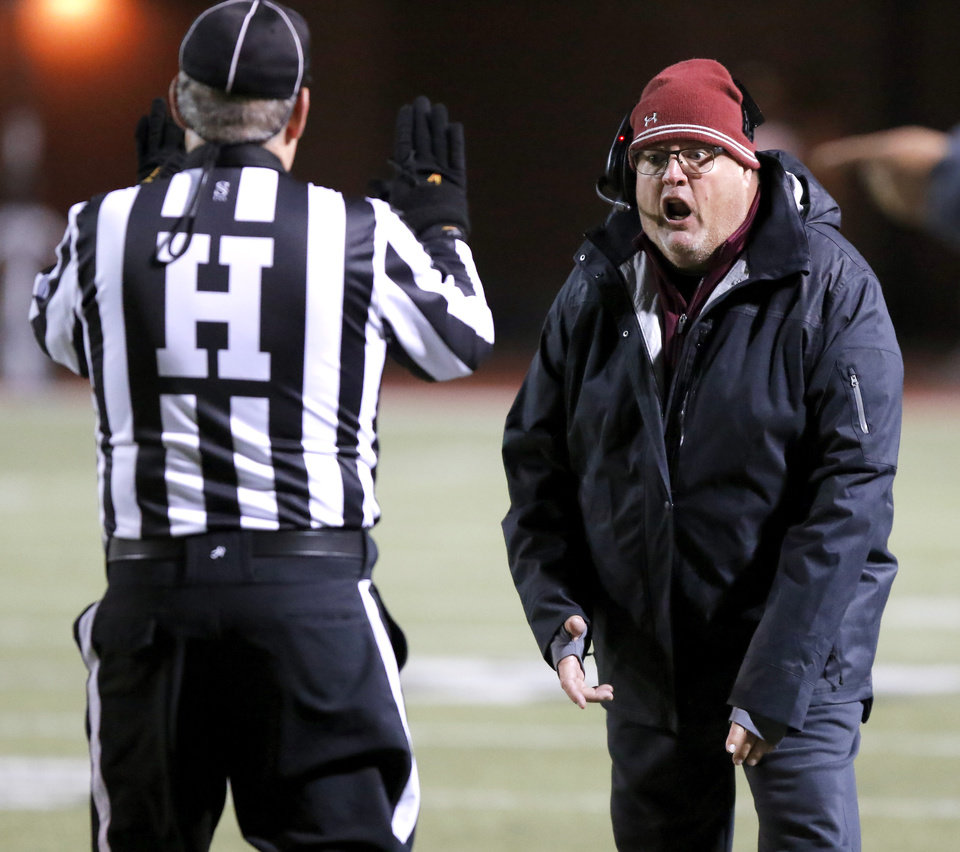 Photo - Jenks coach Allan Trimble argues with an official during a high school football game against Westmoore in Moore, Okla., Friday, Oct. 27, 2017. Photo by Bryan Terry, The Oklahoman