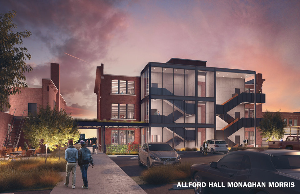 Photo -  Redevelopment of the former Pioneer Telephone warehouse and garage on NE 6 will include a modern addition and courtyards extending the Central Exchange development north to NE 7. [Rendering by Allford Hall Monaghan Morris]