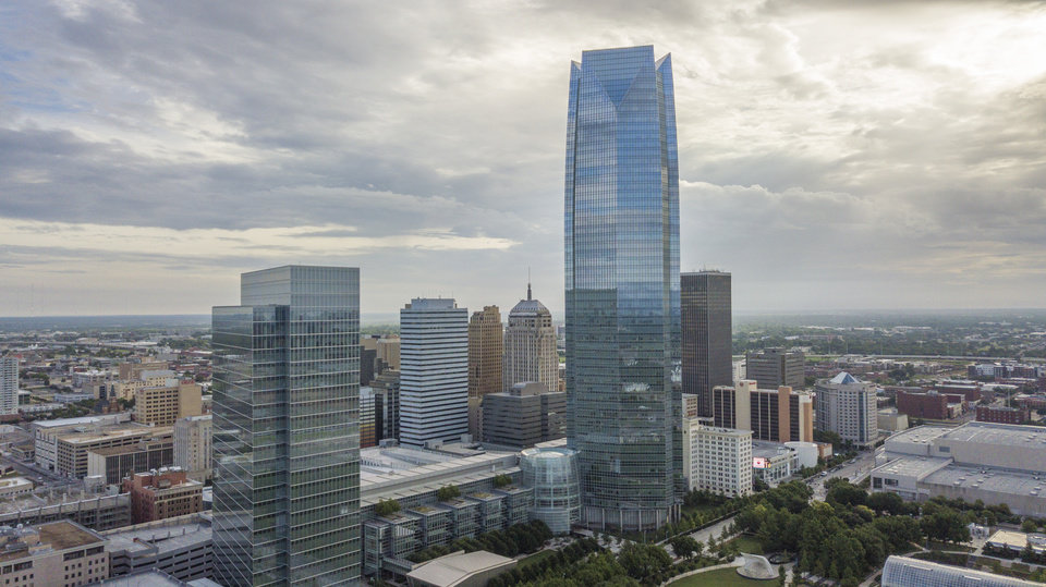 Photo - Aerial drone photo. Looking northeast at downtown with BOK Park Building and Devon Energy Tower in foreground. Photo by David Morris, The Oklahoman