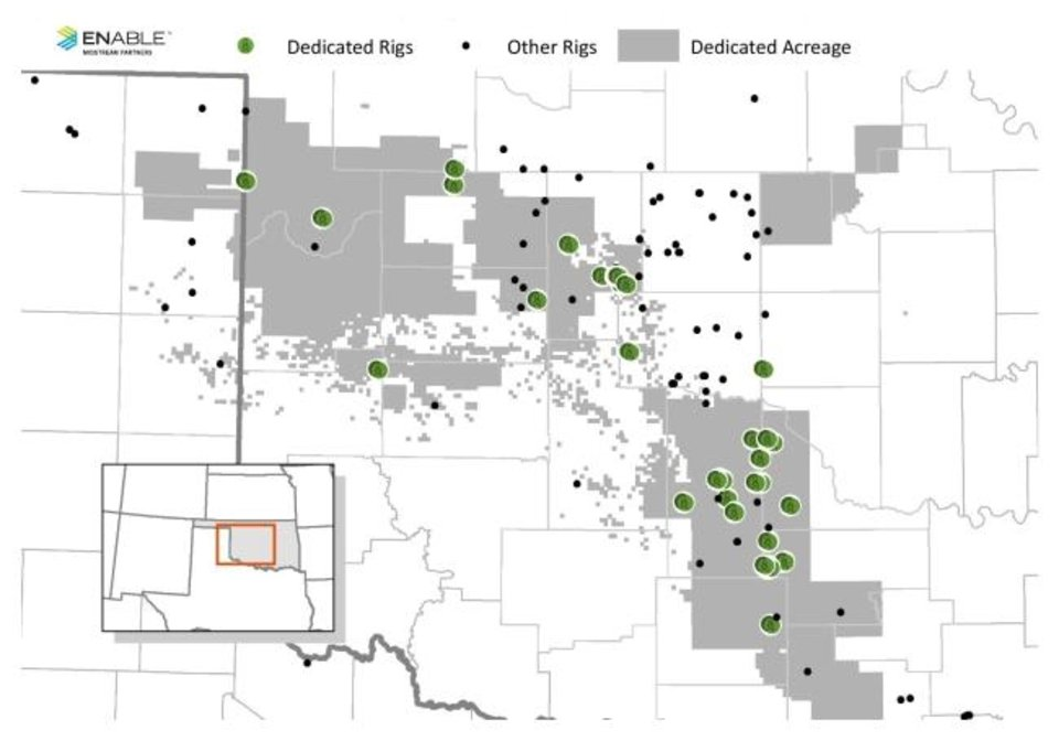 Photo -  This map shows areas inside the Anadarko Basin dedicated to being served by Enable Midstream Partners. The green dots represent rigs dedicated to producers who have contracts with Enable Midstream. The black dots represent other operating rigs in the basin. [PROVIDED BY ENABLE MIDSTREAM PARTNERS]