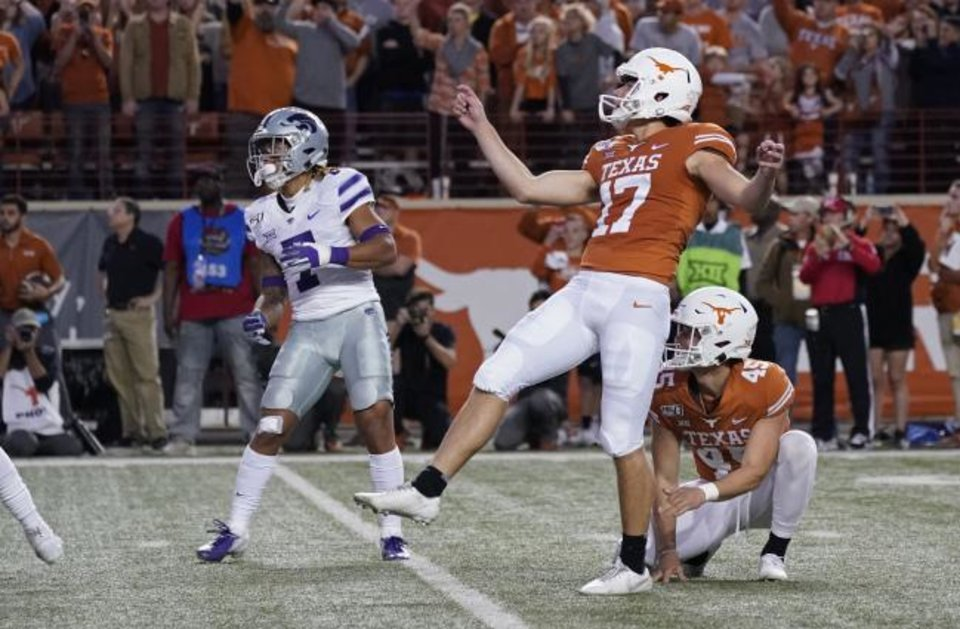 Photo -  Texas' Cameron Dicker (17) watches his last-second winning field goal against Kansas State n Austin, Texas on Saturday. [AP Photo/Chuck Burton]